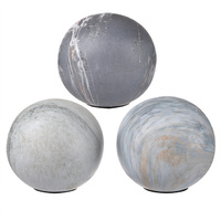 1156 Jasper Grey Decorative Balls set of 3 10.01x10.01x9.5cmh