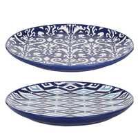 Blue & White Patterned Ceramic Plates set of 4