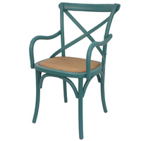 Cross back Arm Dinning Chair Teal colour