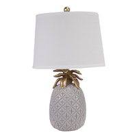 Pineapple Pale Grey Table Lamp polyresin with shade