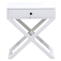 Nantucket Painted white 1 Drawer Bedside cross legs (made from reclaimed timber)