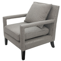 Soho Armchair Houndstooth silver studs
