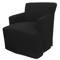 Nantucket slip cover classic Arm Chair black linen Hampton's