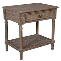 Polo 1dr Side Table Oak Wash rattan shelf