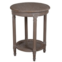 Polo Occassional round table Oak Wash Rattan shelf 50X50X65cmh Flat Pack