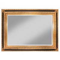 Zappini Black & Gold Leaf Decorator Wood Framed Mirror Bevelled Mirror