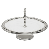 Paisley  1 Tier ceramic Serving Tray Stand silver trim