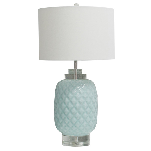 Island hand made glazed ceramic Crystal Table Lamp with quality shade