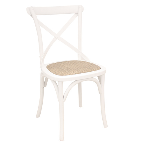 Crossback Chair Solid White Rattan Seat