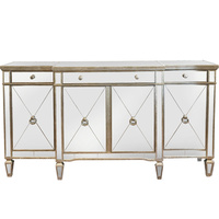 Mirrored Sideboard Antiqued Ribbed