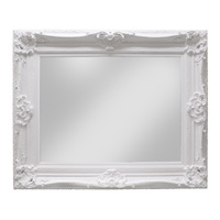 Raphael White Mirror Hardwood frame solid white, Bevelled glass
