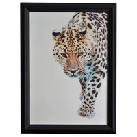 Leopard Walking wood frame Wall Art 110x4x80cmh