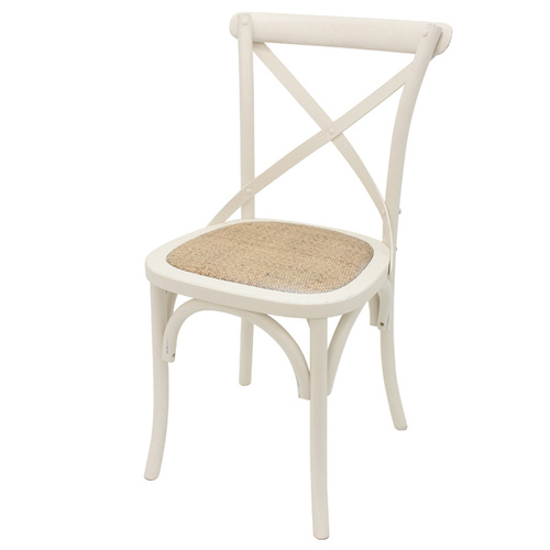 Crossback Chair Off White 40cm x 40cm x 90cm Lightly Distressed finish